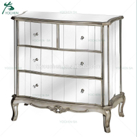 Antique French Style Mirrored Chest of Drawers Silver Venetian Glass Bedroom Furniture