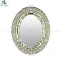 Oriental Oval Silver Bevelled Metal Wall Mirror