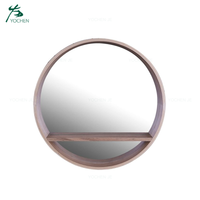 Wholesale Round Shape Bedroom Art Wooden Wall Mirror
