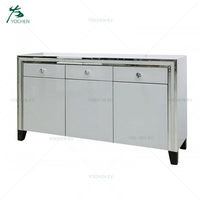 White Glass Wooden Mirrored Sideboard 3 Drawers Over 3 Doors