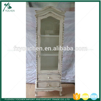 Shabby chic Wooden Display Cabinet 2 Glass Door Showcase