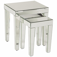 Silver Mirrored Accent Nesting Table with 2 Size L S