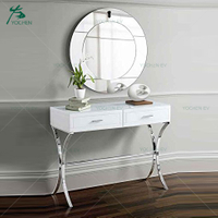 Chrome Stainless Steel Hallway Console Table and Mirror