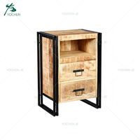 Industrial Antique Furniture Metal Wooden Cabinet With Drawers