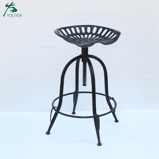 Outdoor use industrial black iron antique bar stool chairs