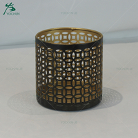 Home style table decorative black small metal candle holder