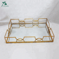 Rectangle Antique Gold Metal Tray Set