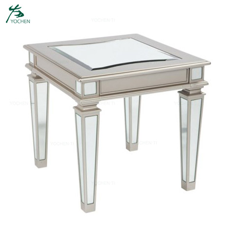 Modern simple round silver mirrored coffee table