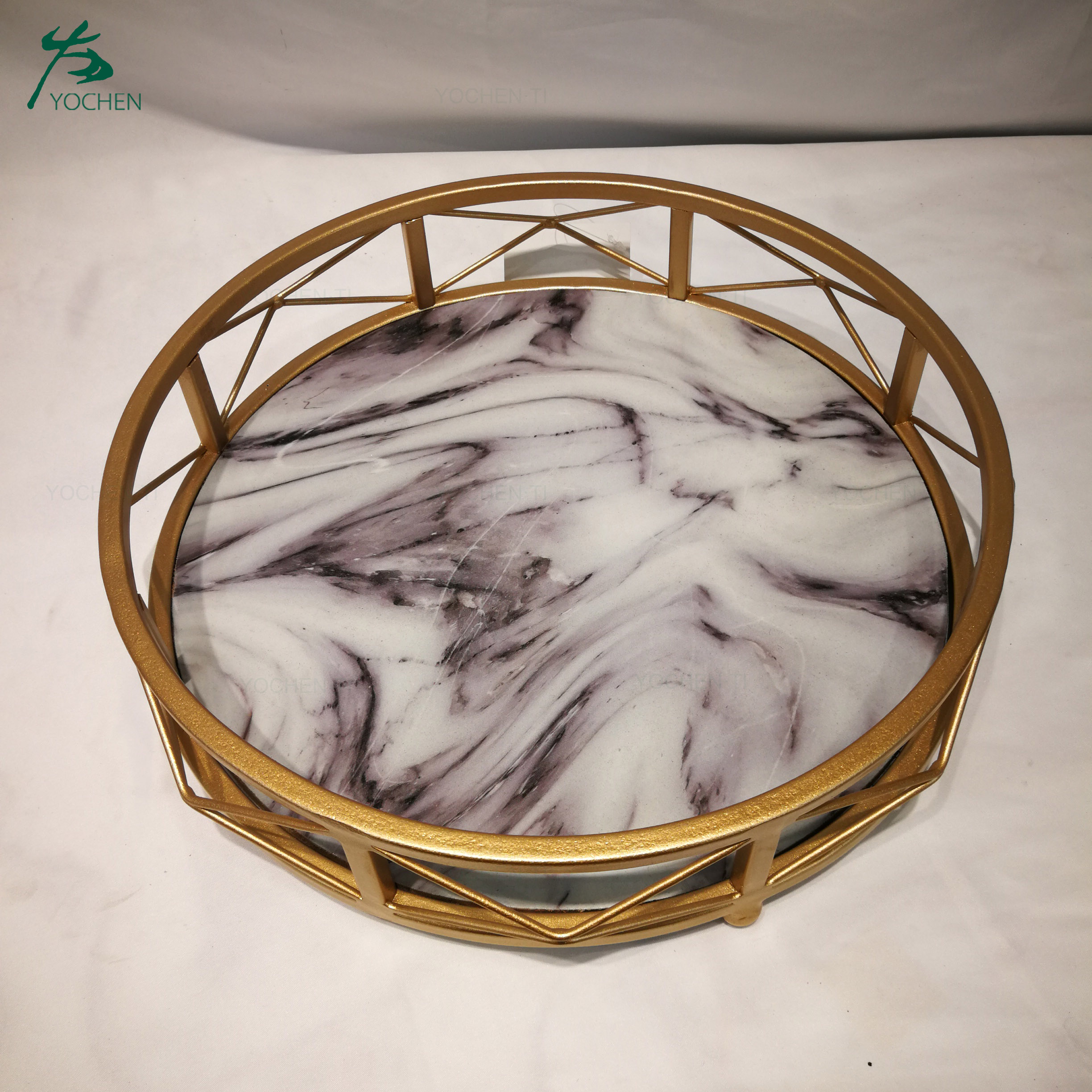 Gold Marble Perfume Tray Vanity Dresser Tray Ornate Metal Decorative Tray