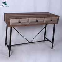 wood cabinet furniture natural color solid wood console table