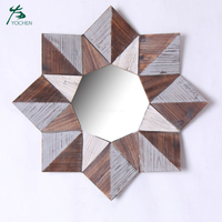 Rustic Wood Handmade Sunburst Decorative Colorful Wall Wooden Frame Mirror