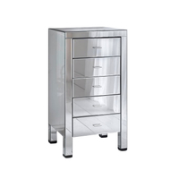 Eco Friendly Mirrored Furniture Tallboy Cabinet With Drawers