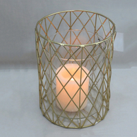 Weddings use handmade metal gold hurricane candle holder