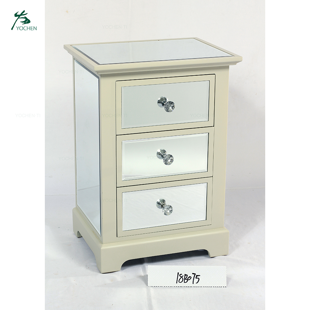 Mirrored three drawer chest with antique painted wood edges