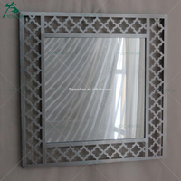 Rectangular Plated Metal Wall Mirror Home Decoration