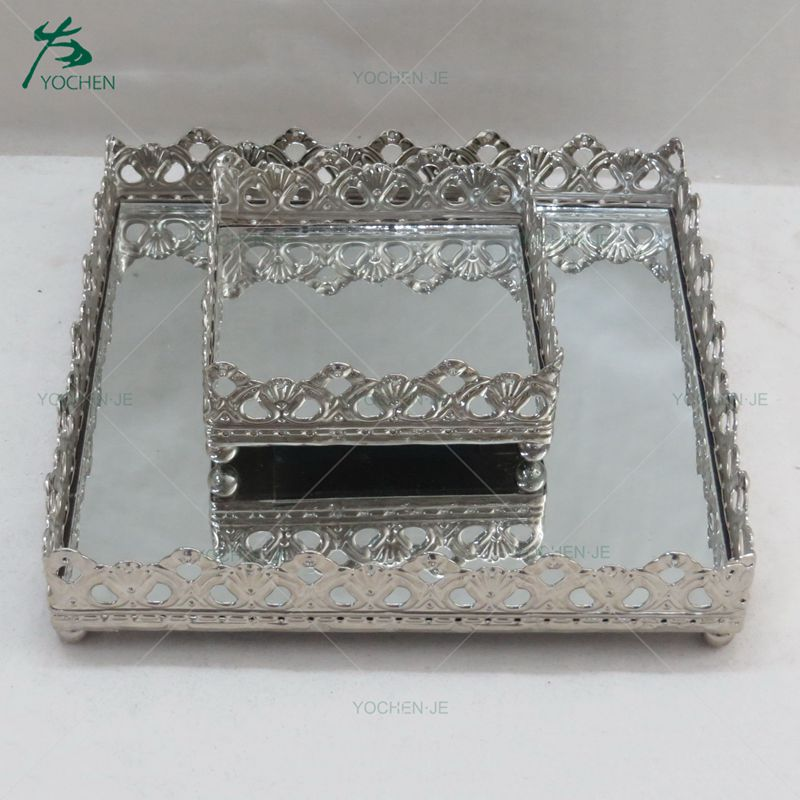 Glass Mirror Metal Square Orante Serving Tray