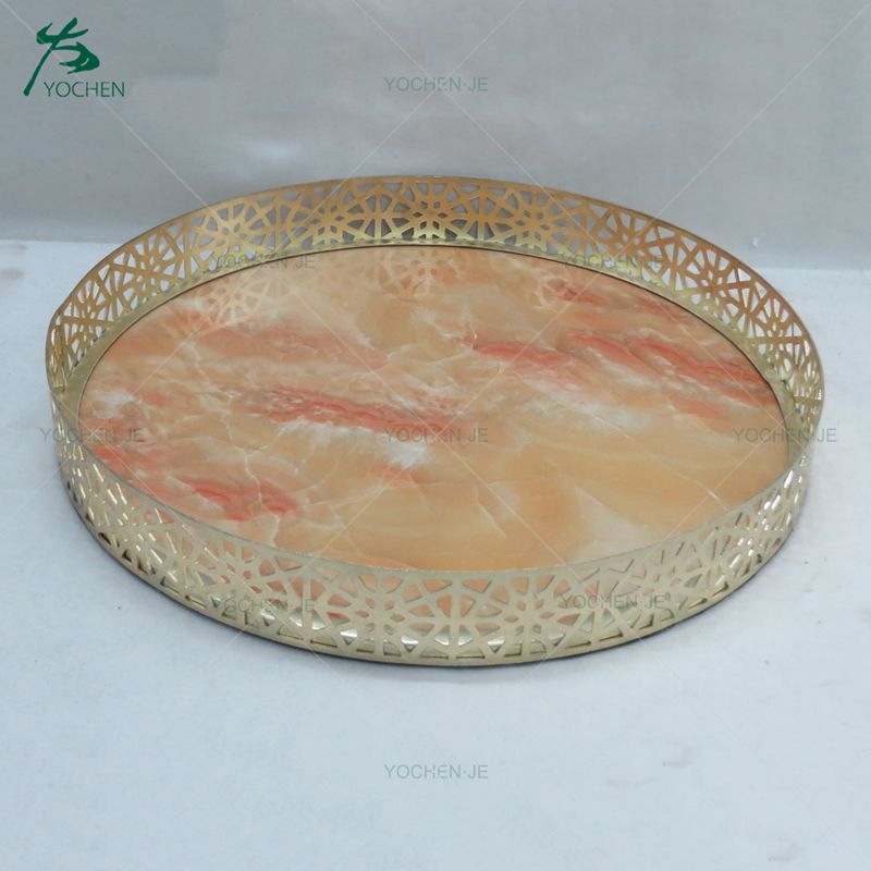 Mid-east market golden decorative mirrored metal serving tray