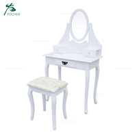 MDF Paulownia Wood Indian Model Dressing Table With Stool