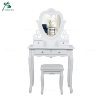 Wooden dressing table furniture white dresser with mirror