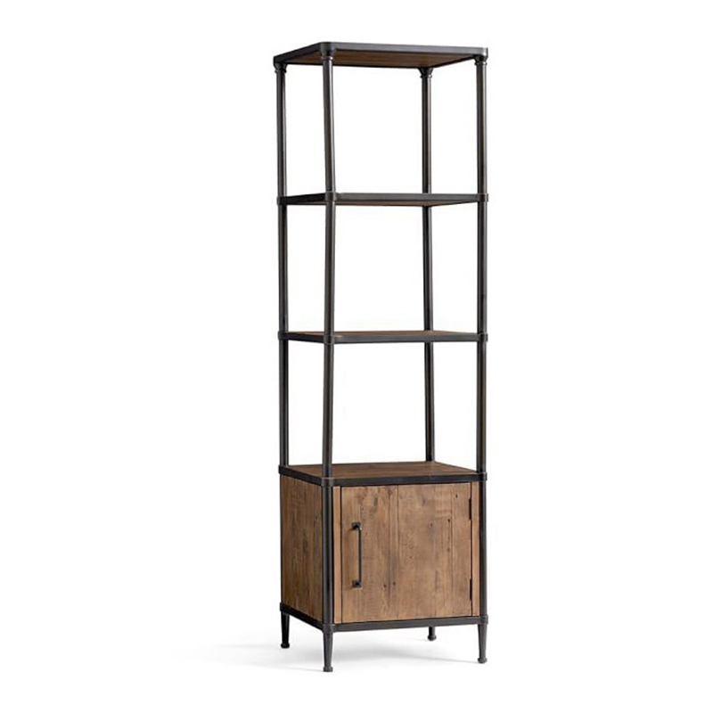Living Room Wooden Shelf Storage Rack with Cabinet