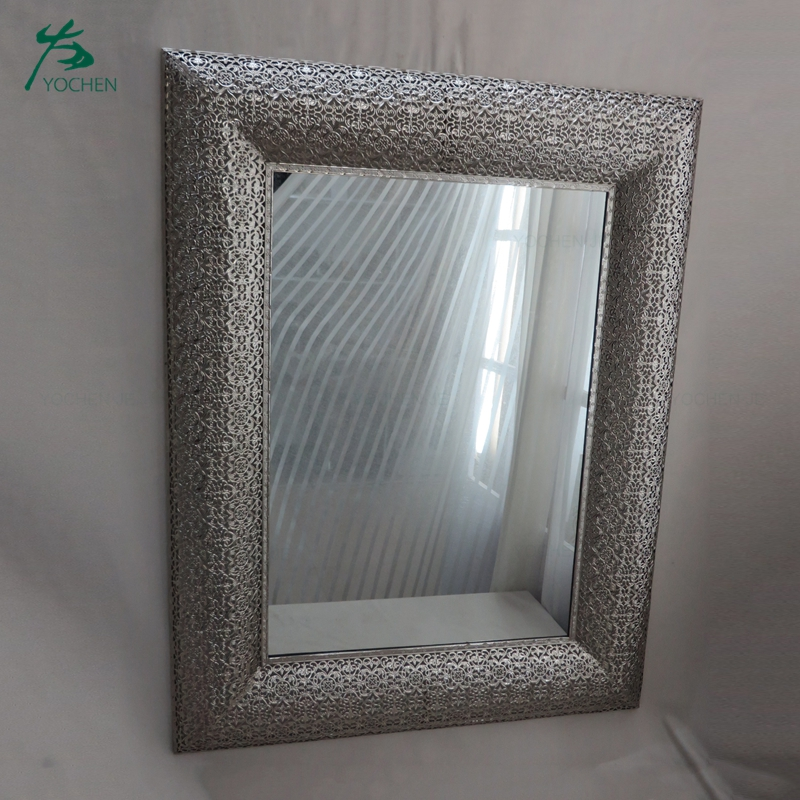 Factory Wholesale Square Bedroom Art Metal Wall Mirror