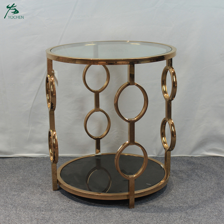 Stainless steel leg base mirror side table modern round pure glass top small coffee table