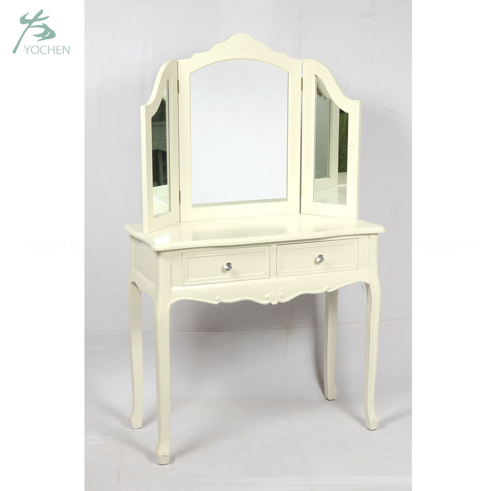 white cream antique bedroom furniture dressing table with mirror