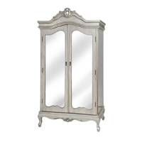 antique bedroom furniture 2 door armoire mirrored cabinet wardrobe with drawers