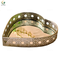 Heart Shaped Metal Venetian Mirrored Tray