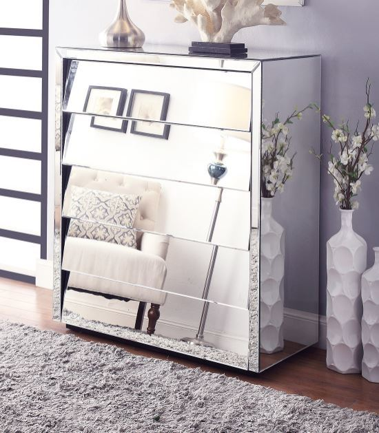 mirrored furniture nightstand glass bedside table