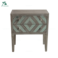 natural wood color wood trim mirrored living room bedside cabinet