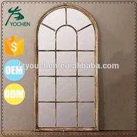 Small Hand Craft Wood Window Frame Mirror