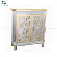 Accent Silver Carved Wooden Cabinet with 2 Doors