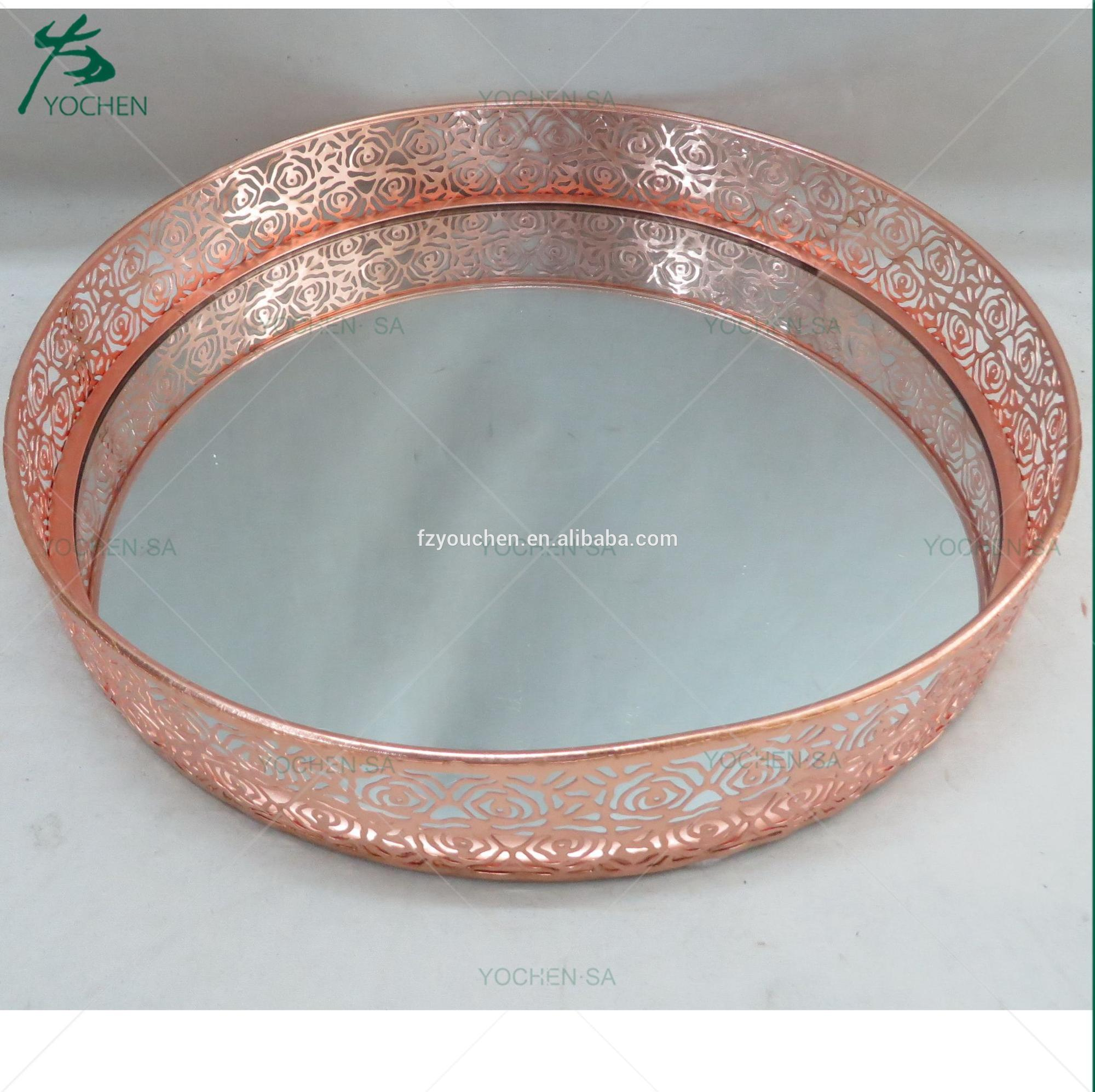 Rose Chic Metal Mirror Tea Light Tray Dish Wedding Table Centre Piece