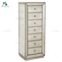 Silver Glass Antique Champagne 6 Drawers Mirrored Tallboy Dresser