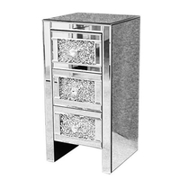 diamond crush furniture 3 drawer mirrored bedside table