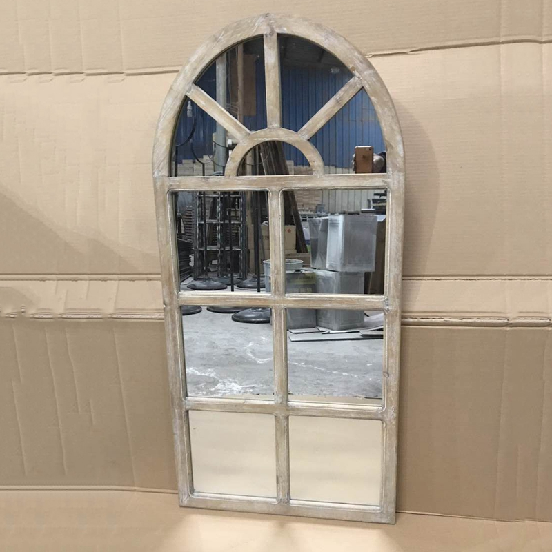 Large antique window design metal frame full length wall mirror