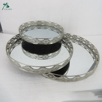 Round Mirror Glass Decorative Vintage Silver Metal Plate Drinks Display Tray