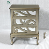 Chinese new design golden mirror 3 drawers bedside table