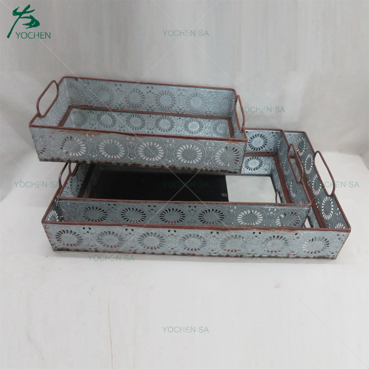 Vintage Metal Rectangular Tray with Mirror Face and Handle Set 3