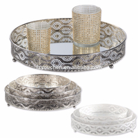 Metal Mirror Tray Candle Plate Candle Tray