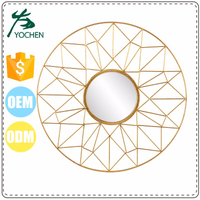 3d wall hand made decoration geometric gold foil huge mirror from guangzhou