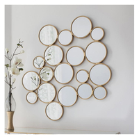 Pretty Spliced Fancy Metal Mirror in Round For Wall Decoration
