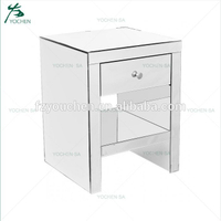 Bedroom Furniture 1 Drawer Mirrored Bedside Cabinet with 1 Shelf