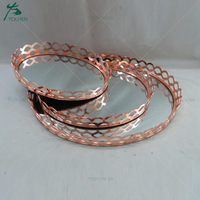 Latticed Metal Mirror Facing Serving Tray Rose Gold
