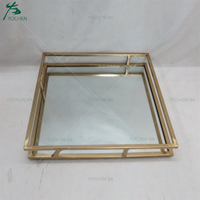 Squared Metal Framed Gold Plated Wedding Decors Metal Mirrored Serving Tray