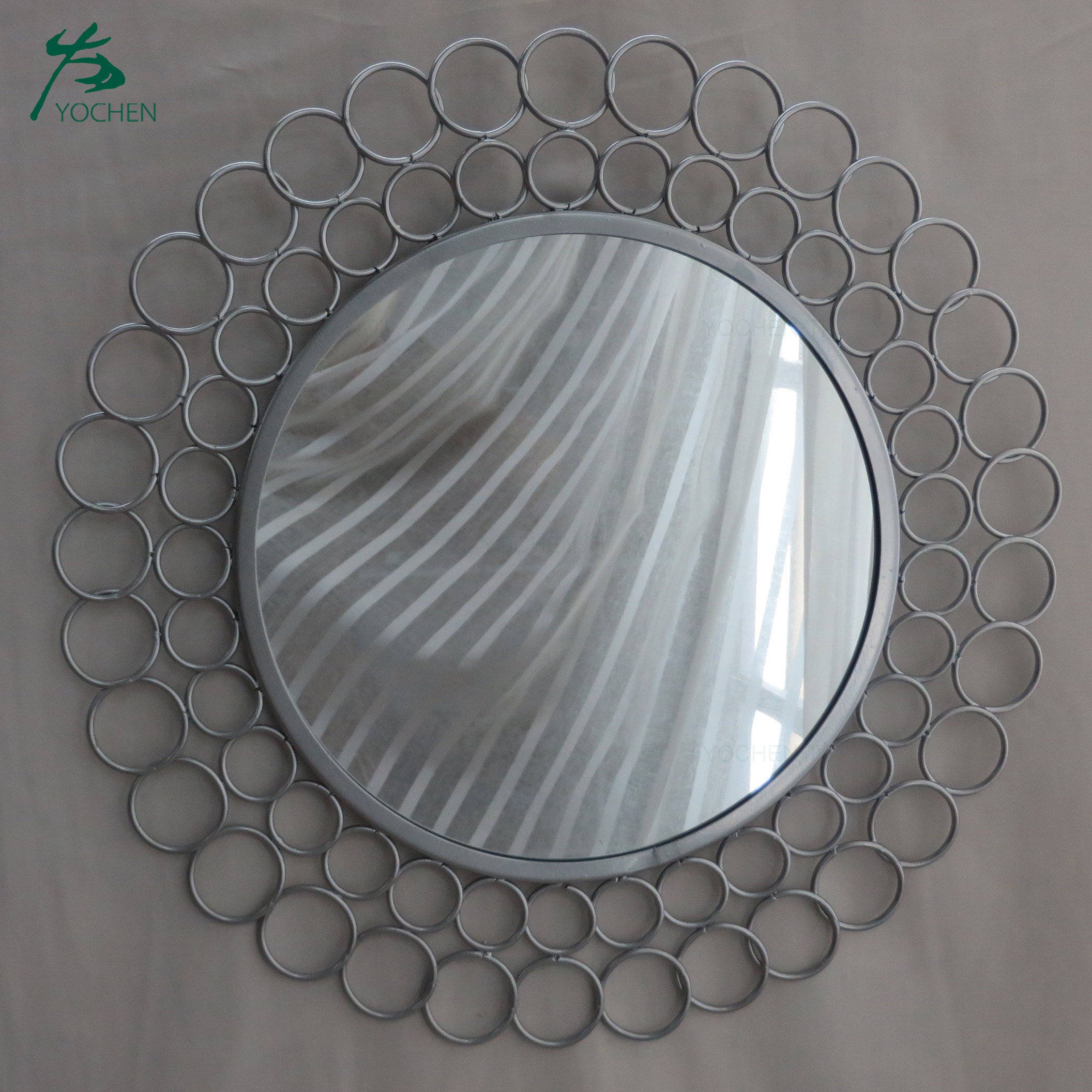 Handcraft home decoration silver wall hanging metal mirror