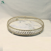 Art Deco Round Marble Top Serving Tray With Design