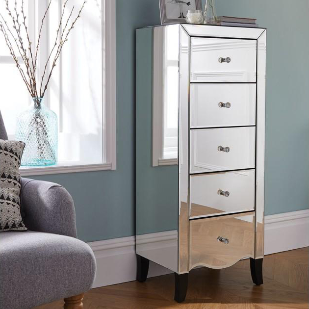 5 drawers tallboy narrow chest of drawers mirrored bedroom furniture