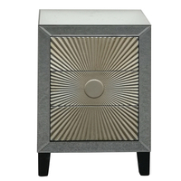 3 drawer MDF wood carved mirrored bedside cabinet